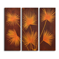 """My Art Outlet - Hand Painted """"Fanned fronds"""" 3 Piece Set Oil Painting - Size: 32"""" x 36"""" (12"""" x 32"""" x 3pc). Enjoy a 100% Hand Painted Wall Art made with oil paints on canvas stretched over a 1"""" thick wooden frame. The painting is gallery wrapped and ready to hang out of the box. A very stylish addition to any room that is sure to get the attention of guests."""