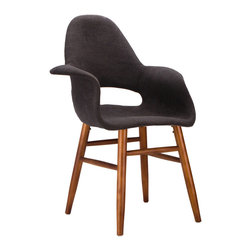 T̻te-��-T̻te Chair in Dark Gray - Have a quiet conversation in this chair inspired by iconic mid-20th century furniture designs. Made with a cashmere blend and accentuated by the wooden legs, this small chair provides an intimate space for those who want to share more with family and friends.