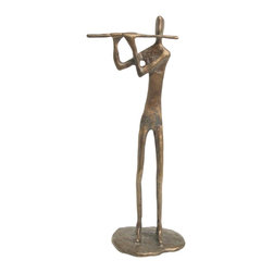 Danya B - Handcrafted Cast Bronze Standing Male Flute Player Design Statue - This gorgeous Handcrafted Cast Bronze Standing Male Flute Player Design Statue has the finest details and highest quality you will find anywhere! Handcrafted Cast Bronze Standing Male Flute Player Design Statue is truly remarkable.