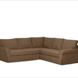 """PB Comfort Roll-Arm 3-Piece L Shaped Sectional Slipcovers, everydaysuede(TM) Nut - Designed exclusively for our PB Comfort Sectional, these soft, inviting slipcovers retain their smooth fit and remove easily for cleaning. Left 3-Piece Sectional with Box Cushions shown. Select """"Living Room"""" in our {{link path='http://potterybarn.icovia.com/icovia.aspx' class='popup' width='900' height='700'}}Room Planner{{/link}} to select a configuration that's ideal for your space. This item can also be customized with your choice of over {{link path='pages/popups/fab_leather_popup.html' class='popup' width='720' height='800'}}80 custom fabrics and colors{{/link}}. For details and pricing on custom fabrics, please call us at 1.800.840.3658 or click Live Help. All slipcover fabrics are hand selected for softness, quality and durability. Left-arm configuration is shown; also available in right-arm configuration. {{link path='pages/popups/sectionalsheet.html' class='popup' width='720' height='800'}}Left-arm or right-arm configuration{{/link}} is determined by the location of the arm on the love seat as you face the piece. This is a special-order item and ships directly from the manufacturer. To see fabrics available for Quick Ship and to view our order and return policy, click on the Shipping Info tab above. Watch a video about our exclusive {{link path='/stylehouse/videos/videos/pbq_v36_rel.html?cm_sp=Video_PIP-_-PBQUALITY-_-SUTTER_STREET' class='popup' width='950' height='300'}}North Carolina Furniture Workshop{{/link}}."""