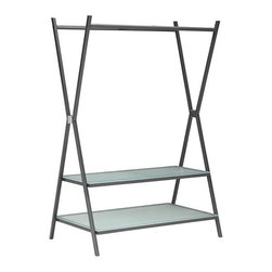 Abbott Hall Tree - Gray - Perfect for entryways, home offices and bedrooms, this Abbott Hall Tree keeps coats, shoes and other loose wardrobe items organized. With a sturdy metal frame and tempered glass shelving, this versatile organizing system is a must-have for any space.