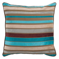 "Surya - Surya JS-024 Sparkling Stripe Pillow, 22"" x 22"", Down Feather Filler - If bold and bright are two words you're looking to define your space, this is the pillow for you. Featuring bold, beautiful stripes colored by bright blues and browns you will turn heads in any room with this striking piece. This pillow contains a zipper closure and provides a reliable and affordable solution to updating your home's decor. Genuinely faultless in aspects of construction and style, this piece embodies impeccable artistry while maintaining principles of affordability and durable design, making it the ideal accent for your decor."