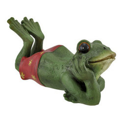 Indoor/Outdoor Daydreaming Frog Statue - This adorable little frog is a wonderful accent to your home or garden. He`s in his bathing suit, lounging around, daydreaming about the future. Made of cold cast resin, he measures 12 inches long, 6 inches tall, 5 1/4 inches wide, and has hand painted accents. This piece is a great gift for frog lovers, and is sure to be admired.