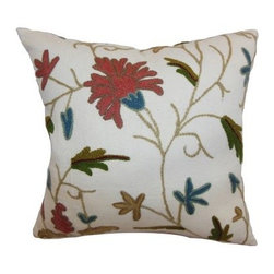 The Pillow Collection Silvia Floral Pillow - Rust Blue - Made from soft and cozy 100-percent crewel material, The Pillow Collection Silvia Floral Pillow - Rust Blue brightens up any setting. This square accent pillow features an artistically inspired floral pattern in red, blue, and green. Its 95/5 feather/down insert is soft and comfortable. Dry clean only.About The Pillow CollectionIdentical twin brothers Adam and Kyle started The Pillow Collection with a simple objective. They wanted to create an extensive selection of beautiful and affordable throw pillows. Their father is a renowned interior designer and they developed a deep appreciation of style from him. They hand select all fabrics to find the perfect cottons, linens, damasks, and silks in a variety of colors, patterns, and designs. Standard features include hidden full-length zippers and luxurious high polyester fiber or down blended inserts. At The Pillow Collection, they know that a throw pillow makes a room.