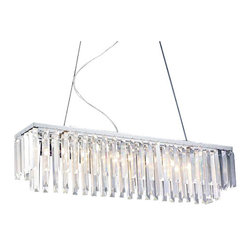 "The Gallery - Modern Contemporary Linear Chandelier Lighting W/ Crystal 47"" X 47"" [Kitchen] - Chrome finish."
