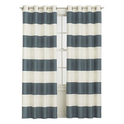 "Alston Slate 50""x84"" Curtain Panel - Something about bold horizontal stripes never seems to go out of style. They're fun and classic all at the same time."