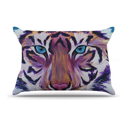 """Kess InHouse - Brienne Jepkema """"Purple Tiger"""" Orange White Pillow Case, Standard (30"""" x 20"""") - This pillowcase, is just as bunny soft as the Kess InHouse duvet. It's made of microfiber velvety fleece. This machine washable fleece pillow case is the perfect accent to any duvet. Be your Bed's Curator."""