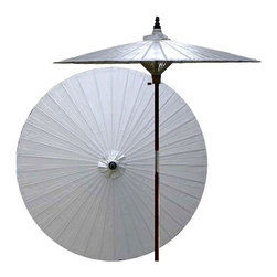 Oriental Unlimted - 7 ft. Tall Lychee Patio Umbrella (None) - Choose Base: NoneHandcrafted and hand-painted by master artisans. 100% Waterproof and extremely durable. Umbrella shade can be set at 2 different heights, 1 for maximum shade coverage and the other for a better view of the shade. An optional base, which secures the umbrella rod and shade against strong winds and rain. Patio umbrella rod and base is constructed of stained oak hardwood for a rich look and durable design. Umbrella shade is made of oil-treated cotton. Minimal assembly required. Canopy: 76 in. D x 84 in. HChildren, helpful people and marriage are all attributed to white in the Oriental tradition. White is also an optimal color for mixing well with any outdoor color theme and in general signifies purity. Allow this gorgeous solid white patio umbrella to enrich your lawn, patio or deck area.