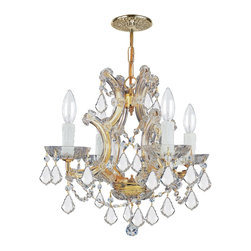 Crystorama - Crystorama 4474-GD-CL-MWP Chandelier - There's undeniable magic when light meets crystal or glass. It sparks the same fire one sees when light meets precious and semi-precious stones. Great lighting often takes styling cues from jewelry as well, with its primary use of gold and silver tones. J