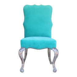 Mortise & Tenon - Rosalind Chair - A traditional chair with a beautiful jade colored fabric.