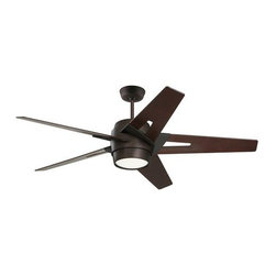 "Emerson - Emerson CF550DMORB 54"" Luxe Eco Outdoor Ceiling Fan - Wall Control and Light Kit - Emerson CF550DMORB Luxe Eco 54"" Luxe Eco Outdoor Ceiling Fan - Wall Control and Light Kit IncludedSleek modern lines punctuate the Luxe Eco. This smartly styled 54"" fan includes five stylish custom designed blades in a Dark Mahogany finish while the motor housing is Oil Rubbed Bronze. A matching integrated light kit with attractive Opal Matte glass is included as well as a no-light plate usable if desired. Easily control this six speed fan with the included wall control with receiver (optional remote controls available). The powerful and quiet energy-efficient EcoMotor operates up to three times more efficiently than typical ceiling fan motors while the steeper blade pitch lets it move more air using less energy, making this an eco-conscious and savings-conscious choice. Let the Luxe Eco do its part in your home or office to save the environment while sacrificing neither style nor comfort.Emerson CF550DMORB Features:"