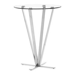 Zuo Modern - Zuo Mimosa Bar Table in Stainless Steel - Bar Table in Stainless Steel belongs to Mimosa Collection by Zuo Modern Refreshing, clean and strong, the Mimosa bar table is chic yet durable for any entertainment venue. Tempered round glass on top of a stainless steel base. Bar Table (1)