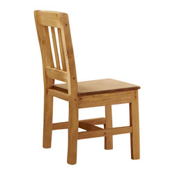 Chelsea Home - Rustic Wooden Chair - Can be paired with desks and bunk beds with desk ends. Constructed for strength and durability. Warranty: One year. Made from solid pine wood. Ginger stain finish. Made in USA. No assembly required. 21 in. W x 16 in. D x 36 in. H (20 lbs.)