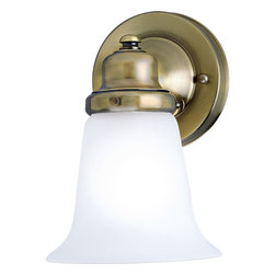 Progress Lighting - Progress Lighting P3832-11 One-Light Wall Bracket With White Glass Shade - Simple, cleanly styled wall fixture features satin-etched glass shade on a antiqued metal fitter.
