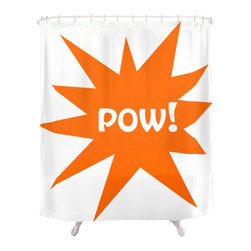 Beatnik Bungalow - Fun Graphic Modern  Shower Curtain - Outfit your bathroom with this playful shower curtain for a pop of color. POW ! design is printed on 100 percent polyester  which features 12-stitched button holes for hanging. liner and rings are not included.