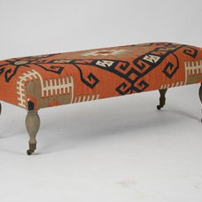Traditional Upholstered Benches by Candelabra