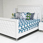 Palm Beach Bed, Ford White Faux Leather - White leather, studs and tufting absolutely complete a modern space.