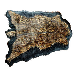 Fur Accents - Fur Accents Pelt Rug, Faux Fur Double Bear Skin, Black / Brown, 5'x6' - A truly Unique Accent Rug. Multi Colored Brown and Black Faux Animal Pelt Area Carpet. Made from 100% Animal Free and Eco Friendly Fibers. Luxury and style for the discriminating designer and decorator.