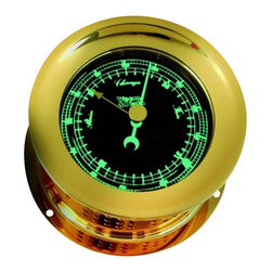 """Weems & Plath Photo-luminiscent Orion Barometer - This beautiful Photo-luminiscent Orion Barometer is highly reliable. It has a 3.25"""" dial, a 4.75"""" base and is 2.63"""" deep. It comes temperature compensated with aneriod movement. The scales on the barometer are inch and millibar. This barometer's movements are calibrated for altitudes to 3500' above sea level and it weighs 1lbs. 7oz. It is ideal for the smaller vessel, stateroom or executive office. The solid cast brass case is polished to a dazzling shine and lacquered to resist tarnishing. The screw bezel allows easy access to the components for adjustment. It comes with complete instructions, mounting hardware and a limited lifetime warranty."""