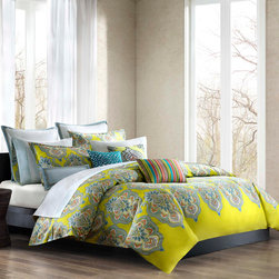 Echo - Echo Rio Duvet Cover Set - Our Rio bedding collection celebrates the brilliant colors and festive mood of Brazil. With detailed and colorful medallions over a bright citron ground, this collection updates any d̩cor with fresh color and exciting pattern. The duvet cover reverses to a solid cool, blue-grey. Duvet and sham Face: T300 100% cotton sateen fabric; Back: T180 100% cotton solid.