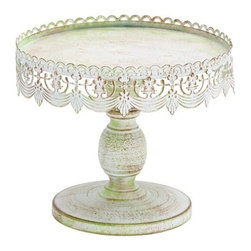 BZBZ68766 - Traditional Style Decorative Cake Stand - Traditional style decorative cake stand. This white iron alloy tray is the perfect backdrop to let your cake stand and steal the show.