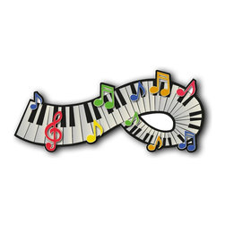 Alumapic, Piano and Colored Notes, Wall Plaque, Artwork Infused Into Aluminum, 1 - Alumapic
