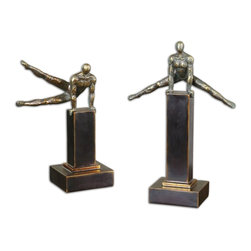"Uttermost - Uttermost Pommel Sculptures, Set of 2 19897 - Distressed silver champagne finish with a dark gray glaze and matte black base. Small size: 9""W x 12""H x 5""D, Large size: 11""W x 16""H x 5""D."