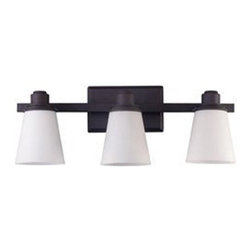 Canarm - Chatham Oil Rubbed Bronze Three-Light Bath Fixture with Flat White Opal Glass - -The Chatham emits a beautiful clean glow complemented by the oil rubbed bronze finish.  Combine with the 2 and 4-light vanity.  This family can be mounted up or down.   -Material(s): Steel Canarm - IVL220A03ORB