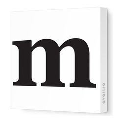 "Avalisa - Letter - Lower Case 'm'  Stretched Wall Art, 28"" x 28"", Black - Spell it out loud. These lowercase letters on stretched canvas would look wonderful in a nursery touting your little one's name, but don't stop there; they could work most anywhere in the home you'd like to add some playful text to the walls. Mix and match colors for a truly fun feel or stick to one color for a more uniform look."