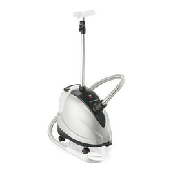 HamiltonBeach - 90 Minute Garment Steamer - Includes fabric crease tool and bristle brush upholstery attachments. Water tank fills up at sink for 90 minutes of steaming power. Gentle on fabrics and great for cotton blends, synthetics and more. Telescoping pole retracts for storage. Total wattage: 1500 W. Warranty: One year limitedThe 90 Minute Garment Steamer offers a quick solution for a fresh look. Spend less on dry cleaning and save money and refresh clothes at home. It heats quickly and provides the powerful steam performance needed to remove wrinkles effortlessly. Freshen clothes between trips to the dry cleaner, give a clean look to that bed skirt or favorite silk dress, the garment steamer offers a quick and economical solution.