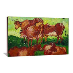 "Artsy Canvas - Les Vaches 20"" X 13"" Gallery Wrapped Canvas Wall Art - Les vaches by Van Gogh - Vincent van Gogh (1853 - 1890) was a Dutch post-Impressionist painter whose work, notable for its rough beauty, emotional honesty, and bold color, had a far-reaching influence on 20th-century art. beautifully represented on 20"" x 13"" high-quality, gallery wrapped canvas wall art"