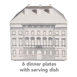 """Palace Stacking Tableware - This model of a Florentine building is actually a stack of dinner dishes! This includes six square dinner dishes, and the serving dish """"roof"""". It's a fun architectural model to leave out on the buffet every day."""