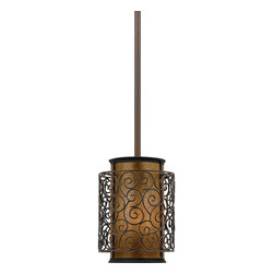 Quoizel - Quoizel MC843PRC Mica Modern/Contemporary Mini Pendant Light - This artistic piece is an addition to the Quoizel Naturals collection. The drum shade is made of genuine amber mica, and features an overlay of thin metal swirls, which appears to be floating around the shade. It provides a warm and inviting accent for most any home.