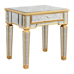 Elegant Lighting - Elegant Lighting MF1-2001GA Florentine Tables in Gold and Antique Mirror - This Table from the Florentine collection by Elegant Lighting will enhance your home with a perfect mix of form and function. The features include a Gold and Antique Mirror finish applied by experts. This item qualifies for free shipping!