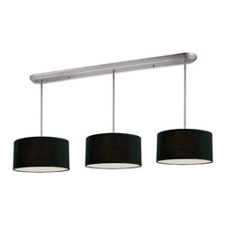 Z-Lite - Z-Lite 9 Light Island/Billiard - Elegant and contemporary best describe this beautiful nine light fixture. Finished in brushed nickel and paired with black shades, this nine light fixture would be equally at home in the game room, or anywhere else in the house needing a touch of timeless charm. Adjustable rods are included to ensure the perfect hanging height.