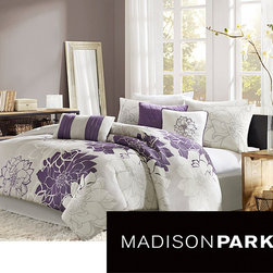 Madison Park - Madison Park Bridgette Floral-pattern Cotton 7-piece Comforter Set - This seven-piece floral comforter set gives your bedroom cozy charm. This white and purple floral set includes a comforter, a bedskirt, two pillowshams, and three pillows. It has everything you need to make dressing up your bedroom easy and convenient.