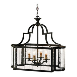 Kathy Kuo Home - Marion Wrought Iron Rectangle 4 Light Lantern - This rectangular traditional wrought iron lantern takes on a new angle with multi-panel glass sides. The ends are curved, giving the piece a distinctly graceful line, making it perfect for traditional and contemporary spaces alike.