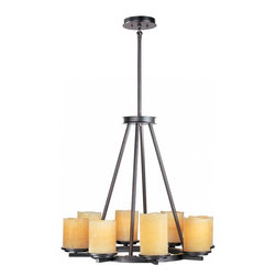 Joshua Marshal - Eight Light Rustic Ebony Stone Candle Glass Candle Chandelier - Eight Light Rustic Ebony Stone Candle Glass Candle Chandelier
