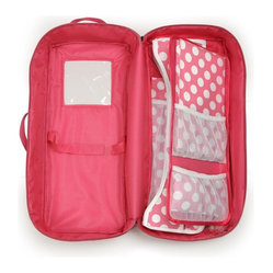 Badger Basket Doll Travel Case with Bed and Bedding, Dark Pink