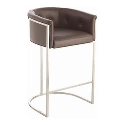 Arteriors Calvin Top Grain Polished Nickel Barstool - While this barstool is great as it is, I would love to see this in a graphic patterned fabric which would really make a splash in a traditional or eclectic kitchen.