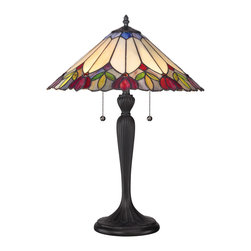 Quoizel - Quoizel TF1434T Tiffany 2 Light Table Lamps in Authentic Bronze - The 23�-high Fowler table lamp contains 150 pieces of Tiffany-style art glass in carefully chosen colors that complement most interior design schemes and palettes. It is illuminated by two 75-watt, medium-base bulbs and the sculptural base features a rich Authentic Bronze patina.
