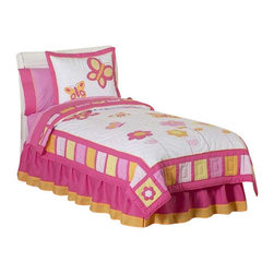 Sweet Jojo Designs - Butterfly Pink & Orange Bedding Set Twin (4 Pc.) - The Butterfly Pink and Orange Bedding Set by Sweet Jojo Designs will help you create an incredible room for your child. This butterfly bedding set features detailed embroidery and appliqués of butterflies and flowers that create a cute garden-themed nursery. This set uses the stylish colors of Pink, Orange, and Yellow. This set uses 100% cotton fabrics that are machine washable for easy care. This set comes in Twin and Queen sizes.