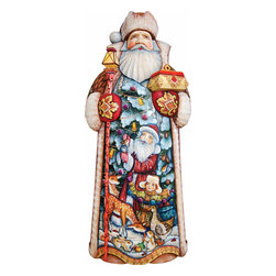 """Artistic Wood Carved Santa Claus Holiday Delight Sculpture - Measures 14""""H x 7.5""""L x 4""""W and weighs 5 lbs. G. DeBrekht fine art traditional, vintage style sculpted figures are delightful and imaginative. Each figurine is artistically hand painted with detailed scenes including classic Christmas art, winter wonderlands and the true meaning of Christmas, nativity art. In the spirit of giving G. DeBrekht holiday decor makes beautiful collectible Christmas and holiday gifts to share with loved ones. Every G. DeBrekht holiday decoration is an original work of art sure to be cherished as a family tradition and treasured by future generations. Some items may have slight variations of the decoration on the decor due to the hand painted nature of the product. Decorating your home for Christmas is a special time for families. With G. DeBrekht holiday home decor and decorations you can choose your style and create a true holiday gallery of art for your family to enjoy. All Masterpiece and Signature Masterpiece woodcarvings are individually hand numbered. The old world classic art details on the freehand painted sculptures include animals, nature, winter scenes, Santa Claus, nativity and more inspired by an old Russian art technique using painting mediums of watercolor, acrylic and oil combinations in the G. Debrekht unique painting style. Linden wood, which is light in color is used to carve these masterpieces. The wood varies slightly in color."""