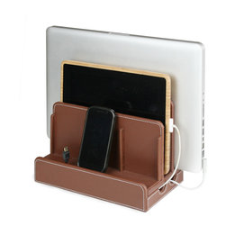 Great Useful Stuff - Faux Leather Multicharging Station - Techies, don't not worry about all the electronics cluttering up your space. Banish the unsightly cords and stylishly organize your gadgets with this multicharging station. The smart, faux-leather stand holds a laptop, tablet and three other devices that you simply can't live without.