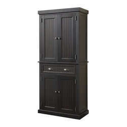 Home Styles - Home Styles Nantucket Pantry in Distressed Black Finish - Home Styles - Pantry - 503369 - The Home Styles Nantucket Pantry is constructed of hardwood solids and engineered wood in a sanded and distressed black finish providing an aged worn look. Features include storage drawer, two cabinet doors each containing two adjustable shelves, and antique brushed nickel hardware.