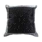 Banarsi Designs - Hand Embroidered Pillow Cover, Set of 2, Mystic Black - Discover our exclusive and unique Hand Embroidered pillow cover collection from Banarsi Designs. This set of pillow covers incorporates hand embroidery and features radiant and expressive tones. These decorative pillow covers measure 16x16 inches and are sold as a pair. Made in India.