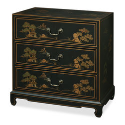 China Furniture and Arts - Chinoiserie Scenery Design Cabinet - Magnificently hand-painted 18th century Chinoiserie motifs on black lacquered wood, this cabinet has traditional Chinese scenery and landscaping designs decorating the entire cabinet. Three felt-lined drawers provide ample storage space. Solid brassware ideally matches the gracefulness of the cabinet's gold edges. Black matte finish. Fully assembled. Please see matching chest of drawers, Part No. MB07DYBM-WG.