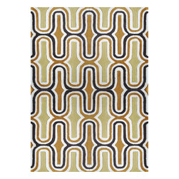 Rug - ~5 ft. x 7 ft. Grey with Yellow Transitional Living Room Area Rug, Hand-Tufted - Living Room Hand-tufted Shaggy Area Rug