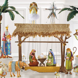"Grandin Road - Set of Three Magi Nativity Figures - Hand-painted. Hand-molded of stone resin. Figures range from 1"" to 10""H. At 21""H, the angel, star, and palm trees frame the scene. A wonderful rendering of heirloom quality. Remarkably charismatic and refreshingly vibrant, our Patience Brewster Nativity Scene displays the artist's vision of the first Christmas. From the Baby Jesus figurine to the verdant Palm Trees, this humble collection exhibits an exquisite level of detail and craftsmanship for a truly magical rendering of heirloom quality.  .  . . . ."