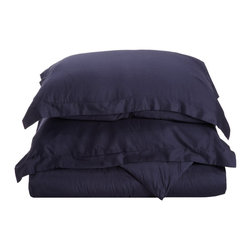 300 Thread Count Egyptian Cotton Twin Navy Blue Solid Duvet Cover Set - 300 Thread Count Egyptian Cotton Twin Navy Blue Solid Duvet Cover Set